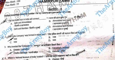 Indian Army Soldier Gd Question paper 2021 Aro. Hamirpur original Paper 2021 Indian Amry Soldier gd Original Paper 2021 Hamirpur Aro Question Paper 2021